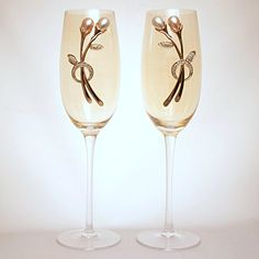 Unique Jewelry on Gold Wedding Champagne Glasses with Pink Pearls and White Crystal Gems (Set of 2) *** To view further for this item, visit the image link.