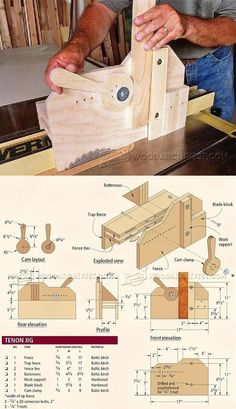 Table Saw Tenon Jig Plans - Joinery Tips, Jigs and Techniques   WoodArchivist.com #woodworkingtools