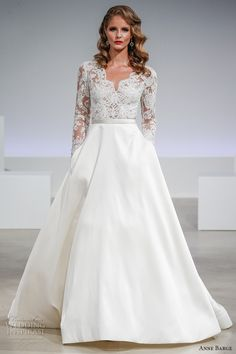 anne barge fall 2017 bridal lace illusion long sleeves v neck heavily embellished bodice top a line wedding dress pockets lace illusion back sweep train (brooks) mv