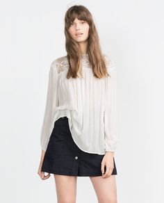 Image 1 of GUIPURE LACE COMBINED SHIRT from Zara