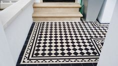Victorian floor tiles and contemporary geometric ceramic tiles. Specialists in the design and supply of mosaic tile schemes. Black And White Tiles, Black And White Hallway, Modern Bathroom Colours, Tile Installation, Victorian Porch, Porch Tile, White Tile Floor, Victorian Tiles, Victorian