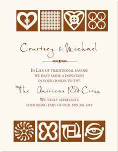 Wedding Donation Cards-Andinkra Symbols African Themed Wedding Favor Cards-Donations as Wedding Favors-Customized Wedding Favor Donation Cards-Wedding Favor Tags
