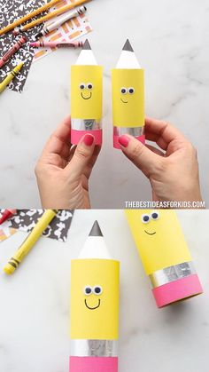 Toilet Paper Roll Pencil - a cute back to school craft for kids! Arts And Crafts For Kids Toddlers, Back To School Crafts For Kids, Paper Plate Crafts For Kids, Toilet Paper Roll Crafts, Fun Crafts For Kids, Paper Crafts, Pencil Crafts, Crayon Crafts, Classroom Crafts