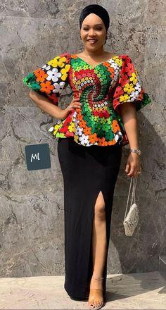 Peplum Skirt and Ankara Blouse Styles peplum skirt and ankara blouse styles - Peplum Skirt and Ankara Blouse Styles 29 - 45 Elegant and Stylish Ways To Rock Your Peplum Skirt and Ankara Blouse Styles African Wear Dresses, African Fashion Ankara, Latest African Fashion Dresses, African Print Fashion, Africa Fashion, African Attire, Ghanaian Fashion, African Style, Modern African Fashion