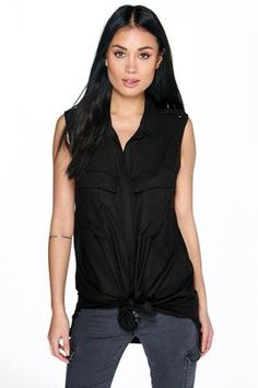 boohoo Shauna Utility Style Sleeveless Shirt #hot #summer