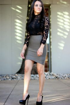 """Maytedoll: """"Get the same look for Less"""" Kim Kardashian lace top and bandage skirt."""