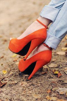 Strappy Orange Heels
