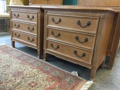 WONDERFUL PAIR OF COUNCILL FURNITURE MATCHING NIGHT STANDS OR END TABLES. THEY HAVE A LOVELY BLONDE HUE WITH BEAUTIFULLY CARVED FACADES, DOVETAIL JOINERY AND METAL PULLS. THEY SHOW SOME WEAR AND MEASURE 28H X 30W X 17D.