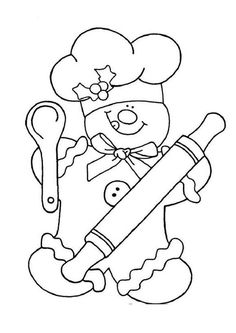 Crewel Embroidery Patterns Gingerbread Chef Color by Sum Christmas Coloring Pages, Coloring Book Pages, Crewel Embroidery, Embroidery Patterns, Embroidery Thread, Christmas Colors, Christmas Crafts, Illustration Noel, Theme Noel