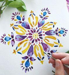 Watercolor Mandala, Mandala Canvas, Watercolor Sketchbook, Watercolor Projects, Mandala Drawing, Mandala Painting, Mandala Art, Watercolour Painting, Watercolor Flowers