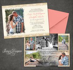 Burlap and lace wedding invitation with photos.  Custom designs by Jeneze Designs, www.jeneze.com