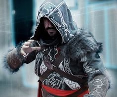 Join the ranks of the ancient brotherhood by getting into this Assassins Creed Ezio Auditore costume. It features game accurate symbols and is made from genuine leather and fur to create an amazing life-like appearance.