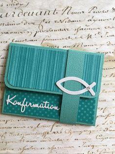 """Geschenkkarte GRÖßE CA. 8X11cm mit Einsteckfach für eine Gutscheinkarte zur KOMMUNION mit Banderole, Schriftzug """"Konfirmation"""", Ichthys Größe ca. 8cm x 11cm AUCH ZUR KOMMUNION und..."""