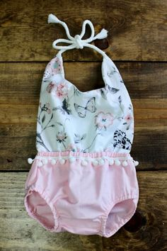 DIY Baby Romper + Free Pattern - Cassie Scroggins - Sweet baby girl pom-pom romper sewing pattern & tutorial Source by - Baby Girl Patterns, Baby Clothes Patterns, Clothing Patterns, Free Baby Sewing Patterns, Pattern Sewing, Baby Sewing Tutorials, Baby Sewing Projects, Free Sewing, Sewing Hacks