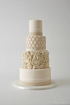 Monochromatic cake made interesting with pattern and texture