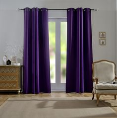 Mysky Home Dust Oil Waterproof Fire Flame Retardant Thermal Insulated Grommet Top Blackout Curtains for Living Room, 54 by 84 inch, Purple (1 Panel) ** See this great product. (This is an affiliate link and I receive a commission for the sales)