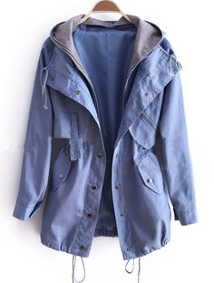 Blue Removable Hooded Long Sleeve Drawstring Trench Coat