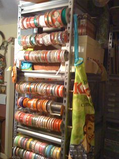 Great idea how to Organize ribbons/wrapping paper