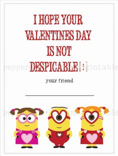 Despicable Me Minion inspired Valentines - DIY Printing on Etsy, $14.00