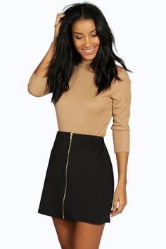 Louella Scuba Zip Front A Line Mini Skirt