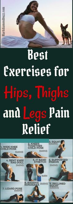 What do you do when your leg and hip hurt? The best thing to do is to find effective lower body and hip pain killer.So, Here are 6 Best Exercises for Hips, Thighs and Legs Pain Relief. Leg Pain, Back Pain, Kid Poses, Yoga Poses, Best Exercise For Hips, Lizard Pose, Yoga Block, Hip Workout