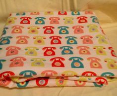 Telephone receiving blanket swaddling blanket double sided xl large | bitspeaces - Children's on ArtFire