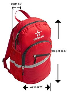 SportingUSA Lightweight Hiking and Travel Backpack A compact Waterproof Day Pack extremely Durable with a High Visibility Reflective Strip Red * See this great product. (Note:Amazon affiliate link)