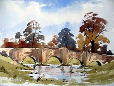 A loose watercolor sketch of a bridge with Alan owen