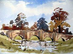 A loose watercolor sketch of a bridge with Alan owen