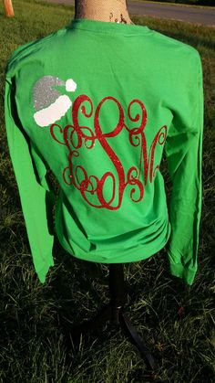 Christmas Monogrammed Shirt with Santa Hat- Santa Shirt -  Merry Christmas Shirt - Front and Back Personalization - Tshirt - Long Sleeve Tee - Hoodie
