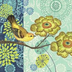 Jardin Bleu Yellow Bird by Jennifer Brinley | Ruth Levison Design