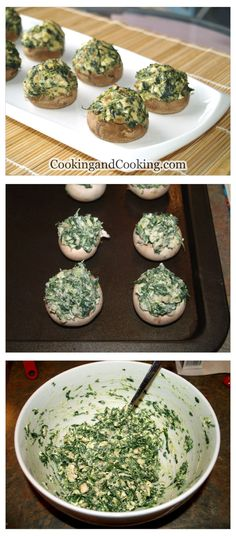 Spinach Stuffed Mushrooms is an easy finger foods and perfect appetizer ideas. If you are looking for some party food ideas and crowd-pleasing appetizer, you have to try spinach stuffed mushrooms. Fill the mushrooms, bake and serve. Veggie Dishes, Vegetable Recipes, Vegetarian Recipes, Cooking Recipes, Healthy Recipes, Burger Recipes, Side Dishes, Tapas, Spinach Stuffed Mushrooms