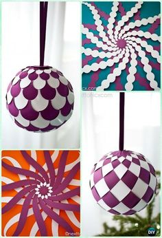 DIY Woven Paper Bauble Ornament Instruction Christmas Tree Craft Ideas
