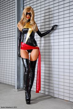 """Ms. Marvel by Giulia. costume idea: I did this with a black dress and black boots. Red fabric belted around my waist, yellow ribbon pin in """"z"""" formation. very easy! And cheap!"""