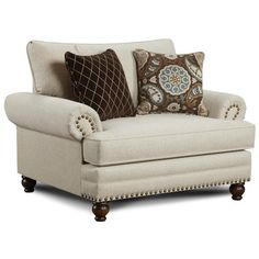 Fusion Furniture 2820 Traditional Chair and a Half with Nailhead Trim