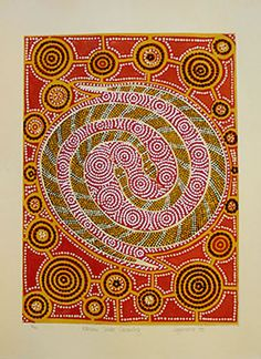 Malcolm Jagamarra ~ Rainbow Snake Dreaming, 1993