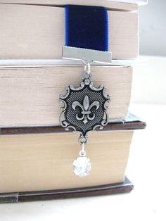 Fleur de lis Bookmark - oxidized silver fleur de lis  - blue velvet ribbon bookmark