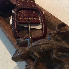 """Crazy Cool Belt Dark leather 35-39 1/2"""" adjusted length. NWT QUESTIONS WELCOME TRADES Macy's Accessories Belts"""