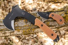 """Wolf Pax  O/A Length: 10 1/8"""" Blade Length: Main edge 3 1/16""""  Secondary Edge:1 7/8"""" Thickness: 1/4"""" Steel: 1095 High Carbon Steel Handle: Tan Canvas Micarta Sheath: Kydex Blade Finish: Black Traction Coating Weight: 1lb 3.8 oz Wolf pup O/A Length: 5 1/4"""" Blade Length: 2 1/2"""" Thickness: 1/8"""" Steel: 1095 High Carbon Steel Handle: Tan Canvas Micarta Sheath: Kydex Blade Finish: Black Traction Coating Weight: 3.1oz *** Made in the Rocky Mountains USA***"""