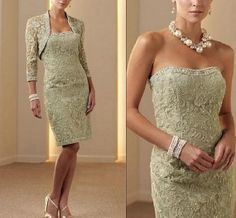 2013 Custom Plus size mother of the bride dress Short formal evening gown&lace jacket