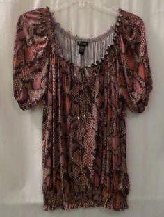 CUPIO-Sz-XL-Womens-Top-Tunic-Peasant-Style-SS-Stretch-Multi-Color $9.50
