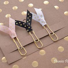 GOLD Polka Dots Ribbon Planner Paper Clips for Your Erin Condren Filofax Kikki K Planner Accessories