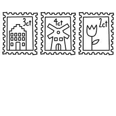 Stempel Set postzegels - Nederland - Digi Stamps, Postage Stamps, Printable Labels, Printables, Doodle Lettering, Stamp Carving, Addressing Envelopes, Scrapbook Journal, Mail Art