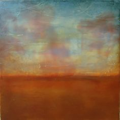 Kathie Cordner - Pink Rising, encaustic on board, 16x16