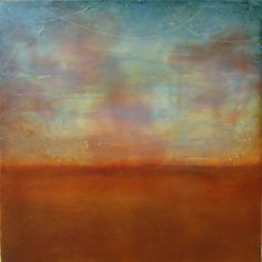 Kathie Cordner - Pink Rising, encaustic on board, 16x16