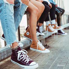 CONVERSE ALL STAR high top canvas sneakers. #Converse #Bershka #mustard #burgundy