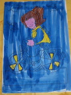 Zichtbaar zijn in het donker: eerst hard kleuren met gele waskrijtjes, daarna overschilderen met blauwe ecoline- pin gemaakt door Lieve L.