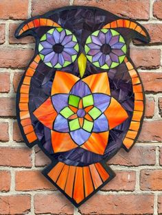 Learn the art of Stained Glass Mosaics! Sign up for the Online Class via www.kasiamosaicsclasses.com  Student Work - Stained Glass Mosaic Owl created by Jodi in a Kasia Mosaics Owl Workshop.