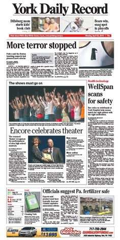 York Daily Record front page for Monday, April 22
