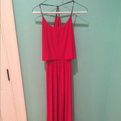 Red silk tbagslosangeles dress!!! Red silk tbagslosangeles dress with an open back! really cute patterned straps that cross in the back! Easy to dress up or make casual!! Tbagslosangeles Dresses